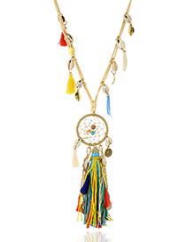 Fashion Multi-color Tassel&shell Pendant Decorated Long Necklace