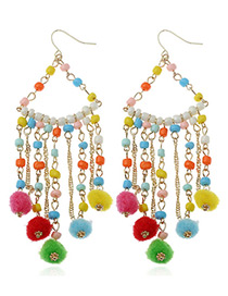 Fashion Multi-color Fuzzy Balls Decorated Long Tassel Design Pom Earrings