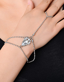 Fashion Silver Color Water Drop Shape Diamond Decorated Double Layer Bracelet1pc)