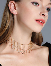 Fashion Gold Color Pure Color Decorated Hollow Out Cimple Choker