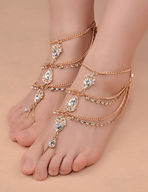 Fashion Gold Color Gemstone Decorated Multi-layer Simple Anklet (1pc)