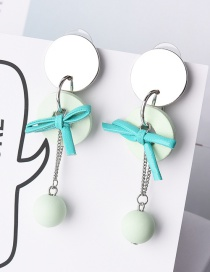 Fashion Green Bowknot Decorated Long Chain Earrings