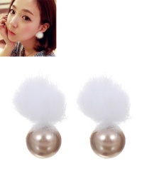 Lovely Silver Color Fuzzy Ball Decorated Earrings