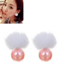 Lovely Pink Fuzzy Ball Decorated Earrings
