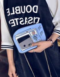 Fashion Blue Television Pattern Decorated Color Matching Sholder Bag