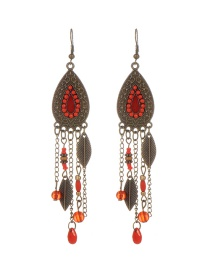 Fashion Red Leaf Decorated Water Drop Shape Simple Earrings