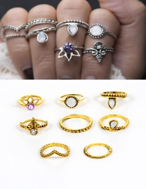 Fashion Gold Color Diamond Decorated Pure Color Simple Ring (8 Pcs)