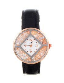 Trendy Black Diamoond Decorated Dail Shape Simple Watch
