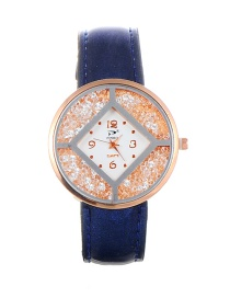 Trendy Dark Blue Diamoond Decorated Dail Shape Simple Watch