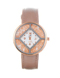 Trendy Pink Diamoond Decorated Dail Shape Simple Watch