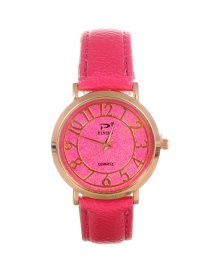 Trendy Plum Red Dail Shape Decorated Pure Color Simple Watch