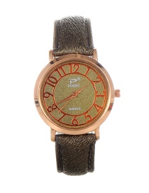 Trendy Green Dail Shape Decorated Pure Color Simple Watch