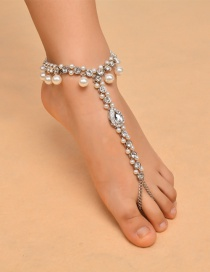 Vintage Silver Color Oval Shape Decorated Tassel Anklet