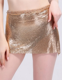 Sexy Gold Color Paillette Decorated Short Skirts
