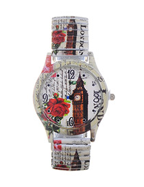 Lovely Beige Bell Tower Pattern Decorated Watch