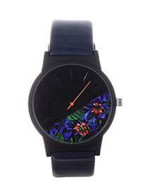 Fashion Navy Blue Flower Shape Pattern Decorated Watch