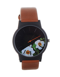 Fashion Brown+white Flower Shape Pattern Decorated Watch