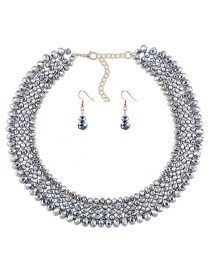 Luxury Silver Color Round Shape Decorated Jewelry Sets