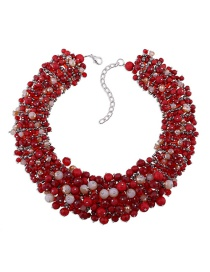 Exaggerate Red Round Shape Decorated Necklace