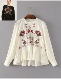 Elegant White Embroidered Fabric Decorated Simple Long-sleeved Shirt