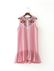 Lovely Pink Embroidered Fabric Decorated Sleeveless Dress Reviews