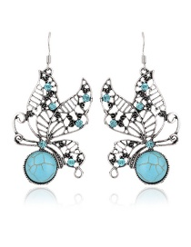 Fashion Blue Butterfly Decorated Hollow Out Earrings