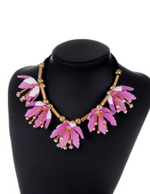 Exaggerate Purple Flower Shape Decorated Short Chain Necklace