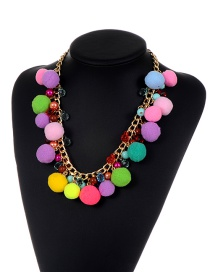 Bohemia Multi-color Fuzzy Ball Decorated Pom Necklace