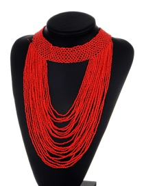 Exaggerate Red Bead Decorated Pure Color Multilayer Necklace