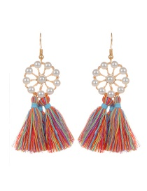 Bohemia Multi-color Tassel Decorated Round Shape Earings