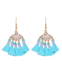 Bohemia Blue Fan Shape Decorated Tassel Earrings