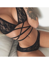 Sexy Black Cross Decorated Lingerie Sets