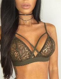 Sexy Green Corss Decorated Perspective Lingerie