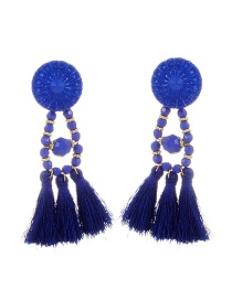 Bohemia Blue Tassel Decorated Pure Color Earrings