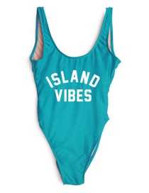 Lovely Blue Letter Decorated Swimsuit