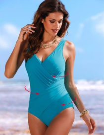 Sexy Blue Pure Color Decorated V-neckline Swimsuit
