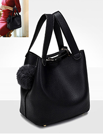 Fashion Black Fuzzy Ball Decorated Pure Color Shoulder Bag