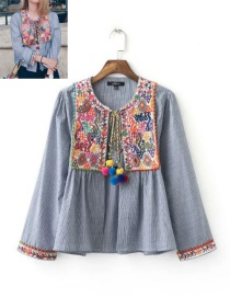 Fashion Gray Embroidery Flower Decorated Long Sleeves Shirt