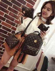 Fashion Black Flower Pattern Decorated Simple Backpack(4pcs)