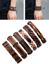 Fashion Brown Color Matching Decorated Simple Bracelet(6pcs)