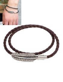 Fashion Coffee Feather Decorated Double Layer Bracelet
