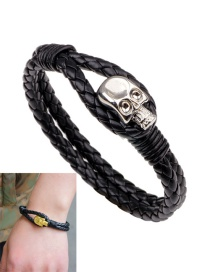 Fashion Silver Color Skull Decorated Double Layer Bracelet