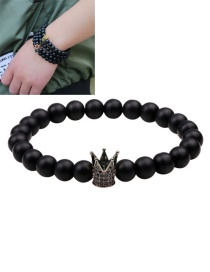 Fashion Black Crown&beads Decorated Pure Color Bracelet
