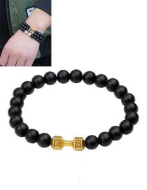 Fashion Gold Color Dumbbells&bead Decorated Pure Color Bracelet
