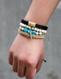 Fashion Black+silver Feather&bead Decorated Weave Multi-layer Bracelet