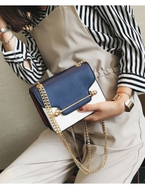 Fashion Blue Buckle Decorated Color Matching Simple Shoulder Bag