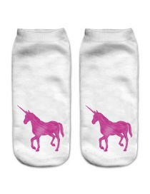 Fashion Pink Printing Unicorn Pattern Decorated Color Matching Sock