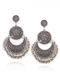 Fashion Antique Silver Round Shape Decorated Pure Color Earrings