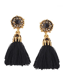 Fashion Black Tassel&diamond Decorated Simple Earrings