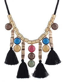 Fashion Black Tassel Decorated Color Mtaching Necklace
